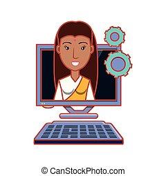 kvinde, computer, indisk, desktop
