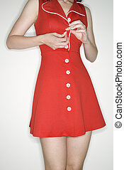 kvinde, dress., buttoning