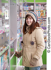 kvinde, drugstore, apotek