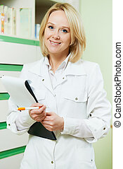 kvinde, drugstore, apotekeren, apotek