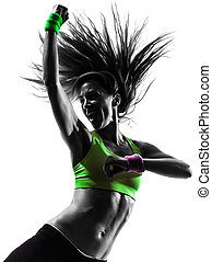 kvinde, exercising, duelighed, zumba, dansende, silhuet