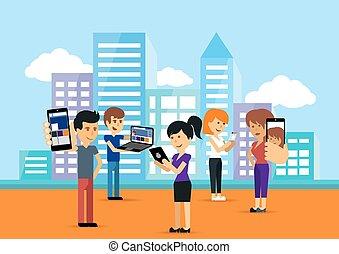 kvinde, folk, indretning, unge, bruge, teknologi, mand