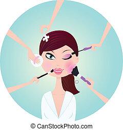 kvinde, forarbejde, -, oppe, behandling, facial, tjenester