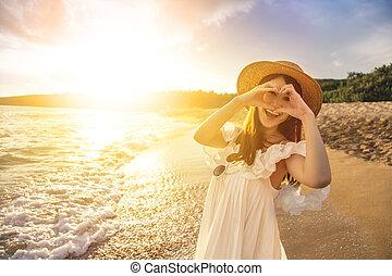 kvinde, gestus, strand, indgåelse, glade, hjerte, unge, solnedgang