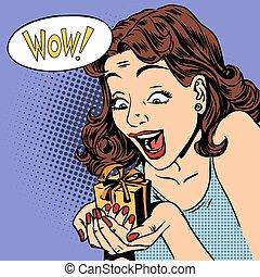 kvinde, glad, gave, wow, knald kunst, comics, retro...