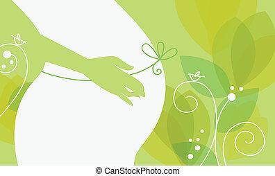kvinde, gravide, silhuet