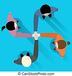 kvinde, hænder, forretningsmand, sammenvokse