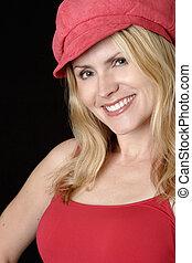 kvinde, hat, rød