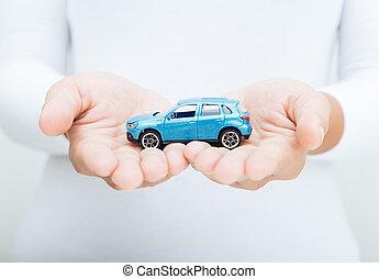 kvinde, hold ræk, automobilen, begreb branche