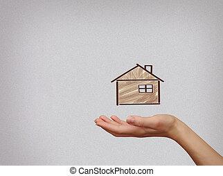 kvinde, hold ræk, illustration, hus, på, gråne, baggrund., forsikring, beskyttelse, begreb branche, investering, til, sikkerhed, penge., sikkerhed, af, forbrydelse, skade