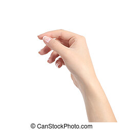 kvinde, hold ræk, noget, ligesom, en, blank, card