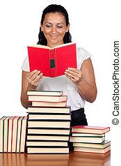 kvinde, holdning, bibliotek, læsning