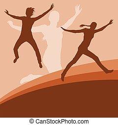 kvinde, hop, vektor, baggrund, aktiv, udtryk, lykke