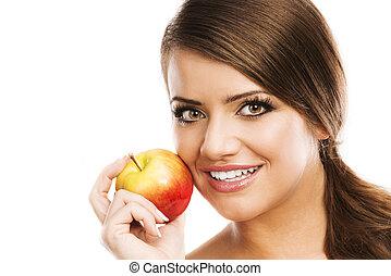 kvinde, hos, æble