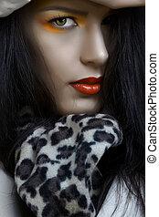 kvinde, hos, appelsin, war paint