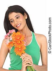 kvinde, hos, bellis, blomster