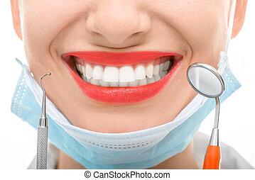kvinde, hos, dentalt spejl, på hvide, baggrund