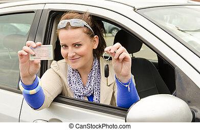 kvinde, hos, drive licence
