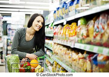 kvinde, hos, købmandsforretninger, butik