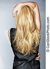 kvinde, hos, længe, blondt hår