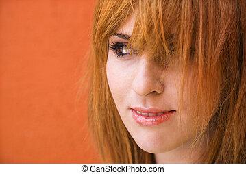 kvinde, hos, mischievious, udtryk