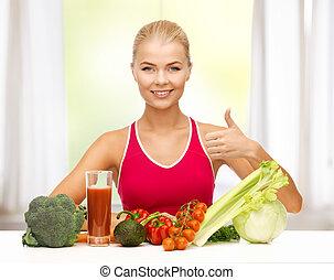 kvinde, hos, organisk mad