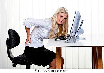 kvinde, hos, smerte, ind den tilbage, kontor