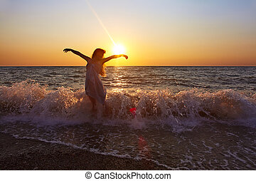 kvinde, hos, solnedgang