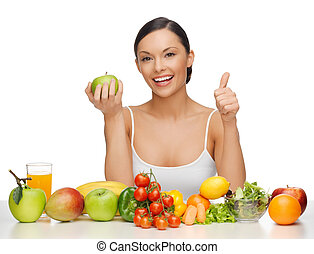 kvinde, hos, sund mad