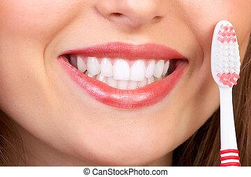 kvinde, hos, tooth-brush