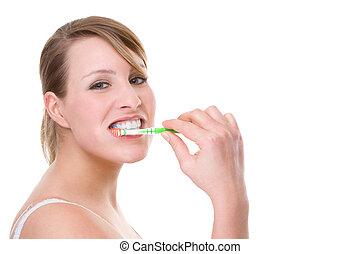 kvinde, hos, toothbrush