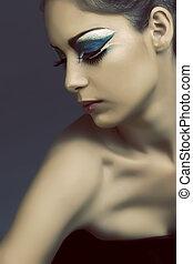 kvinde, hos, turquoise, øje make-up