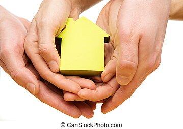kvinde, hus, avis, hånd ind hånd, begrebsmæssig, mand