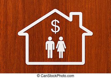 kvinde, hus, inderside, dollar tegn, avis, mand