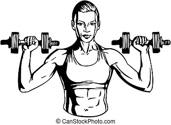 kvinde, illustration., -, vektor, dumbbells, fitness.