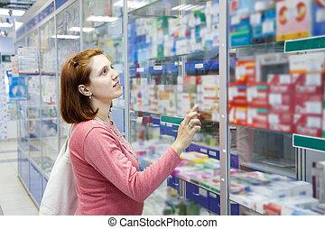 kvinde, ind, apotek, drugstore