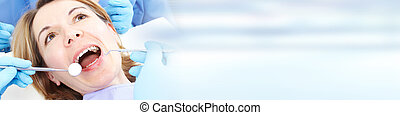 kvinde, ind, dental omsorg, klinik