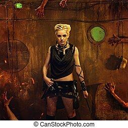 kvinde, ind, en, bunker, hos, zombie, hænder, omkring, hende