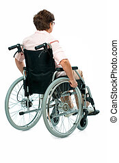kvinde, ind, en, wheelchair