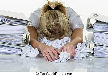kvinde, ind, kontoret, hos, burnout