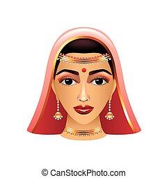 kvinde, indisk, isoleret, traditionelle, vektor, hvid