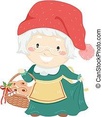 kvinde, jul, sverige, illustration, tomtemor, senior