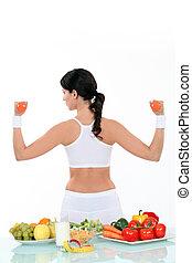 kvinde, kald, en, sund lifestyle