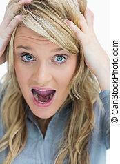 kvinde kigge, frustrer