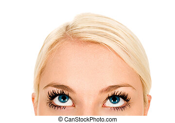 kvinde kigge, oppe, close-up