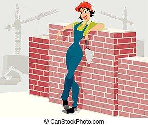 kvinde, konstruktion arbejder, site