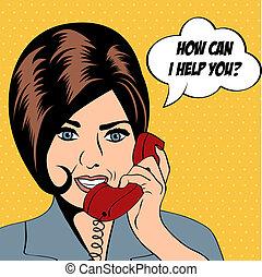 kvinde, kunst, snakker, illustration, affyre, telefon