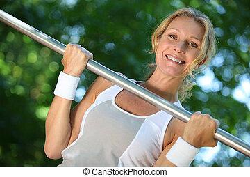 kvinde, løfte vægt