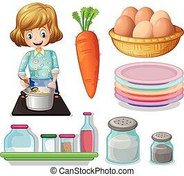 kvinde, madlavning, og, anden, ingredienser