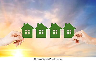 kvinde, mange, huse, avis, grønne, hænder, mand